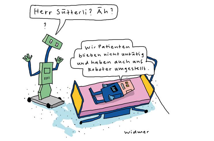 Cartoon von Ruedi Widmer für palliative zh+sh